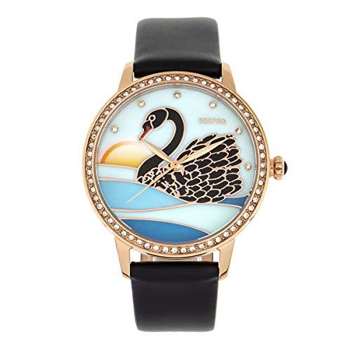 Bertha Grace Quartz Swan MOP Dial Black Genuine Leather Women's Watch -