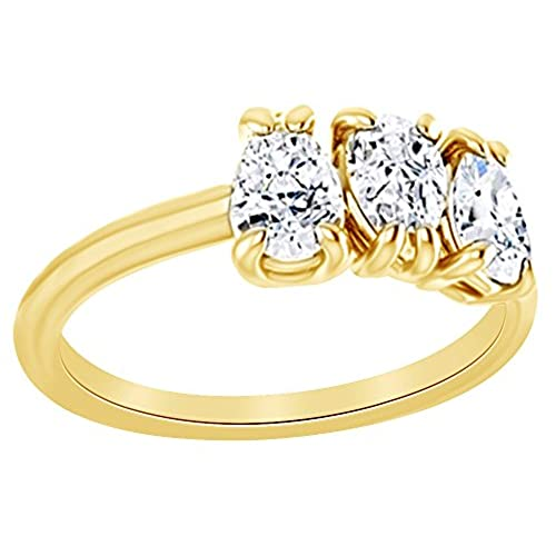 Pear Cut White Natural Diamond Three Stone Engagement Band Ring In 14K Solid Gold (1 Ct) supplies
