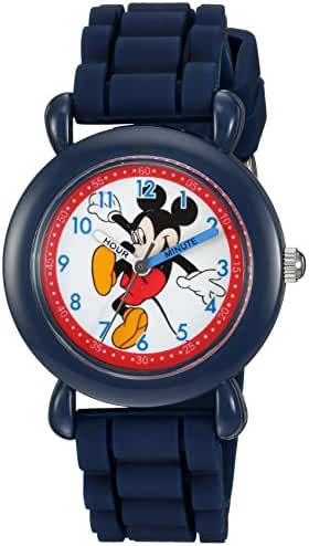 Disney Boy's 'Mickey Mouse' Quartz Plastic and Silicone Casual Watch, Color:Blue (Model: WDS000012)