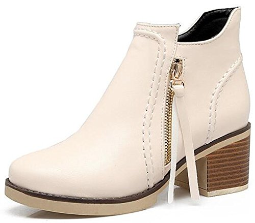 IDIFU Womens Casual Round Toe Mid Chunky Heels Ankle Boots Side Zipper Motor Short Booties Beige X7wHxjo