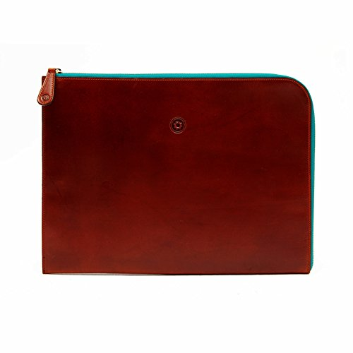 la portegna - Cartera de mano para hombre multicolor Brown Zip Blue Zip