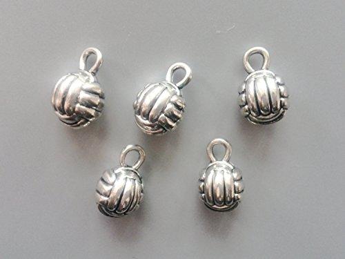FHNP367 - 3D volleyball charms - tibetan silver - 15mm x 9mm - tibet silver charm -antique silver ball pendant - small ball charm - 10 Pcs 3d Volleyball Charm