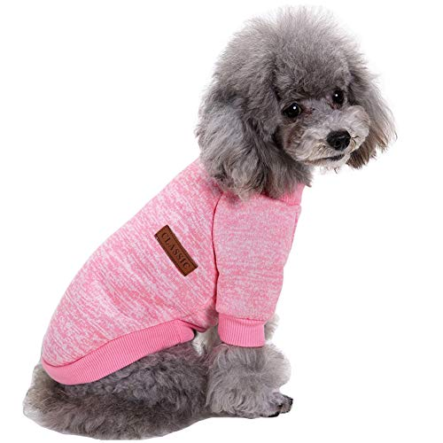 CHBORLESS Pet Dog Classic Knitwear Sweater Warm Winter Puppy Pet Coat Soft Sweater Clothing for Small Dogs (XS, Pink)