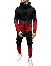 d69e70daac1 Men s Casual 2 Pieces Athletic Full Zip Sports Sets Jacket   Pants Active  Fitness Sweat Tracksuit