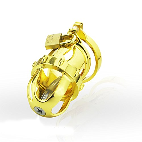 GTAovov Newest type 24k gilded male chastity device cage with urethral catheter sound plug man dick bondage cages sex toys for men penis by GTAovov