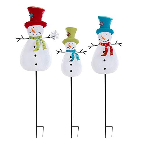 CC Home Furnishings Set of 3 White and Red Whimsy Christmas Snowman Yard Stakes 47.5