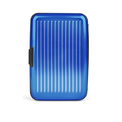Generic Business ID Credit Card Holder Wallet Aluminum Metal Case Box Blue