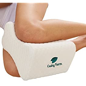 Sciatic Nerve Pain Relief Knee Pillow - Best for Hip, Leg, Knee, Back and Spine Alignment - Memory Foam Orthopedic Leg Pillow Wedge with Washable Cover + Free Storage Bag