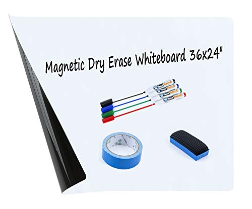Magnetic Dry Erase Whiteboard Sheet for Kitchen Fridge/Walls/Office/School with Stain-Proof Technology-Three Sizes-Include 4 Markers/1 Eraser/1 Tape Super Sticky Cut Free Magnetic White Board 36x24