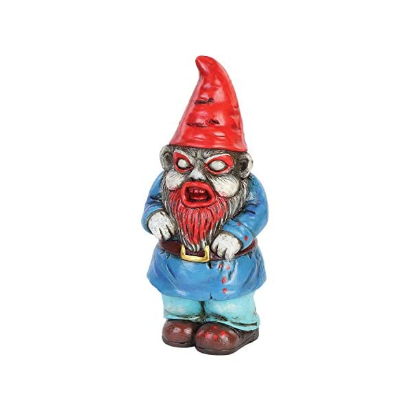 Napco Marketing Horror Garden Gnome Bloody Beard Hand Painted Zombie Gnome Scary Halloween Lawn Ornament Statue 8 H