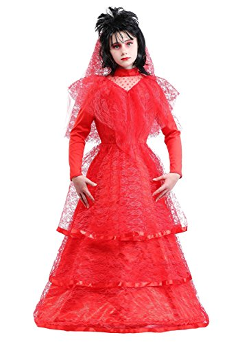 Red Dress Costumes Scary - Red Gothic Wedding Dress Costume for