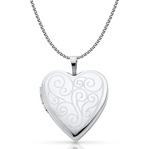 Ioka - 14K White Gold Engraved Fancy Heart Locket Charm Pendant with 1.3mm Flat Open Wheat Chain Necklace - 20