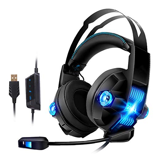 TAOXUE Gaming Headset 7.1 Surround Stereo Sound, PS4 PC USB Gaming Headphones with Noise Canceling Mic & LEB Light Over…