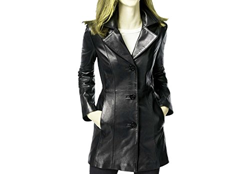 Walker Leather Coat (Anne Klein Mid-Length Walker Leather Coat-Black-M)