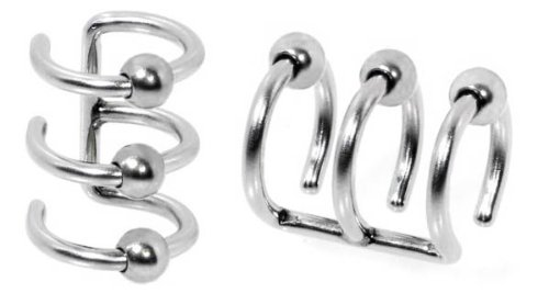 Illusion Fake 3-ring Silver Ball Stainless Steel Non Pierced Clip On Ball Closure Ring - No piercing needed