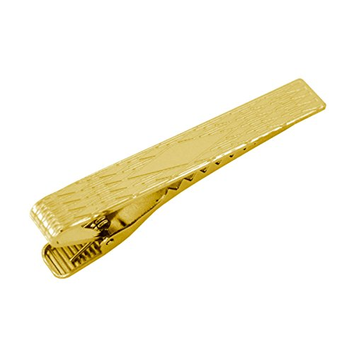 Ajmer Gold Tone Mens Tie Clip Tie Bar - Diamond Design -