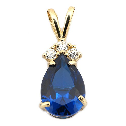 14k Yellow Gold September Birthstone Simulated Sapphire CZ Pear Cut Teardrop Pendant Necklace - pendant only