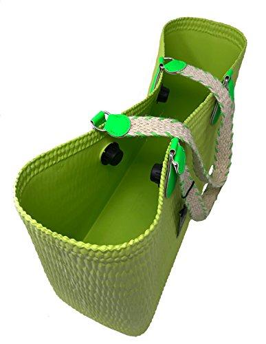 4ddfc4226da1e0 Gommati Beach Lunghi Mini Mela Fluo Manici Bag Verde Juta O R5x87qx