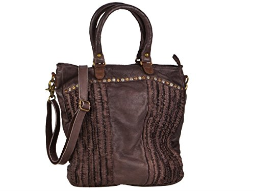 Billy The Kid Frilled Bolso Totes Piel 36 Cm Cooffee