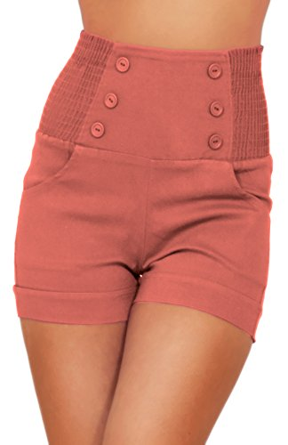 (High Waisted Sophisticated Trendy Chic Front Button Vintage Inspired Shorts (Small, Peach Cobbler))