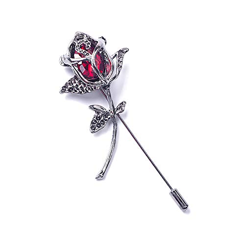 YOOE Men Women's Czech Drill Rose Flower Brooch. Red Blue Rose Floral Lapel Stick Handmade Boutonniere Pins for Suit,Lapel Pin Wedding Brooch (Red) ()