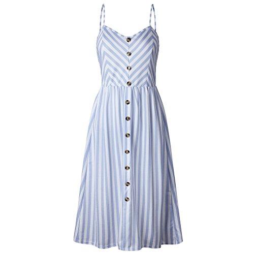 poliéster de Atractivo M correaazul Espaguetis Vestido Mini Imprimir la botón Mangas sin Vestido Las Providethebest Rayado Mujeres qZa7wS44
