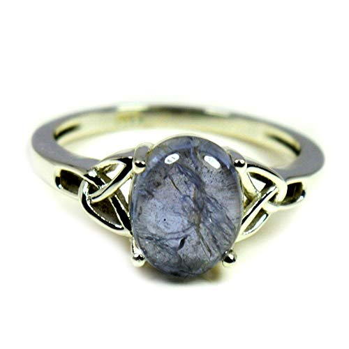 55Carat Natural Iolite Silver Ring Blue Oval Gemstone Chakra Healing Handmade Size 5,6,7,8,9,10,11,12 ()