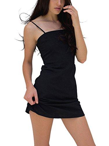 BerryGo Women's Sexy Cut Out Back Bow Spaghetti Strap Bodycon Mini Dress Black