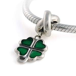 General Gifts - Anillo - anillo de plata de ley 925 forma encanto con dangle trébol de cuatro hojas verde para pandora, biagi, chamilia, troll y pulseras más