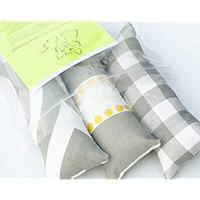 Cat toys with catnip Cat Toy Catnip Kickers 3 PACK Grey Yellow White heavy cotton fabric Organic catnip [tag]