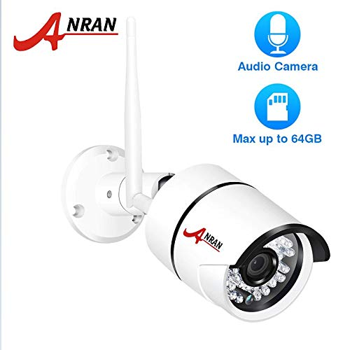 ANRAN 1080P IP Camera WiFi Outdoor Waterproof HD Security Camera Audio Record Wireless Surveillance Camera Built-in SD Card Slot with 16GB Card Focu: 3.6mm, max Micro SD 64GB.