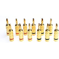 WGGE WG-3333 24k Gold Plated Speaker Banana Plugs-Closed Screw Type (6 Pair (12 PLUGS))