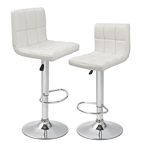 Devoko White Bonded Leather Bar Stool Adjustable Hydraulic Barstools, Counter Swivel Barstool Set of 2 White