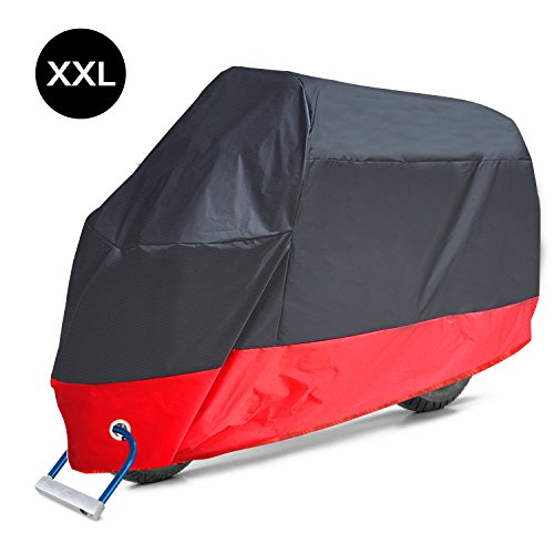 AOAFUN Motorcycle Cover, All Season Waterproof Outdoor Protection,2 Stainless Steel Lock-Holes Design, Fits up to 108 Motors ,Waterproof ,Anti-Theft, Durable & Tear Proof(XXL,Black& Red)
