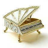 White Grand Piano Box Figurine Swarovski Crystals Miniature Jewelry Keepsake Box…