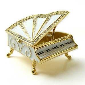 (Sparkling Collectibles White Grand Piano Box Figurine Swarovski Crystals Miniature Jewelry Keepsake Box...)