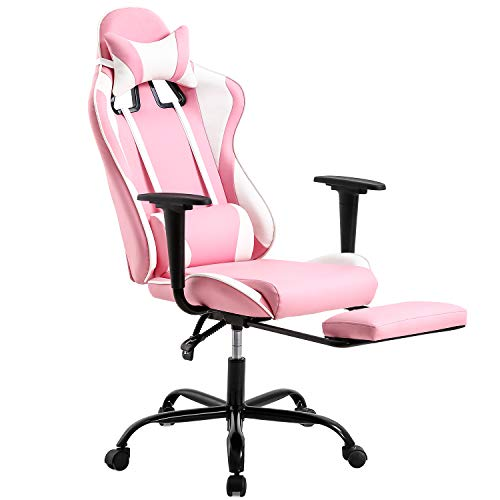 PC Gaming Chair Desk Chair Ergonomic Office Chair Executive High Back PU Leather Racing Computer Chair with Lumbar Support Footrest Modern Task Rolling Swivel Chair for Women Men Girls Adults, Pink
