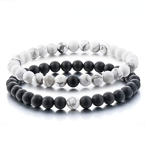 Couples Gifts,Long Distance Relationship Friendship Bracelets Black Matte Agate & White Howlite Natural Energy Stone Beads Bracelets Bangle for His Hers Men Women at Birthday