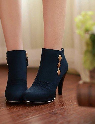 Zapatos Redonda us8 Blue Vellón Tacón Vestido Xzz Mujer Botas Moda De La Eu39 Punta us8 Cn39 Stiletto Uk6 Negro Azul A Black wY1wqdnx