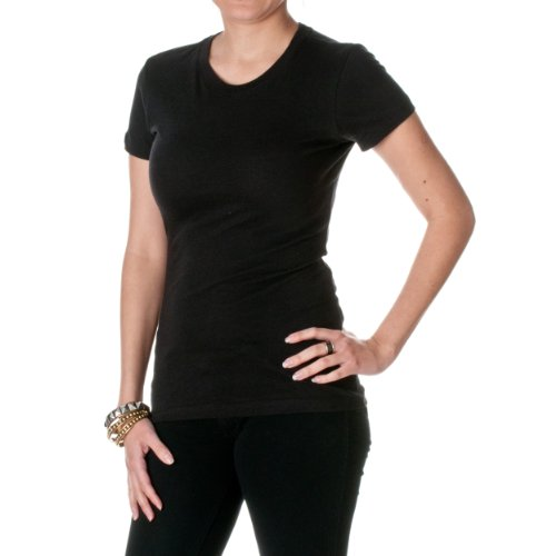 Next Level Apparel Womens Crewneck Cap Sleeves T-Shirt- Black, Large ()