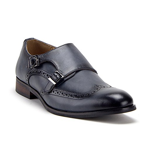 Jaime Aldo Menns Distressed Double Monk Strap Vingespiss Tilfeldige Loafers Kle Sko Navy Wingtip