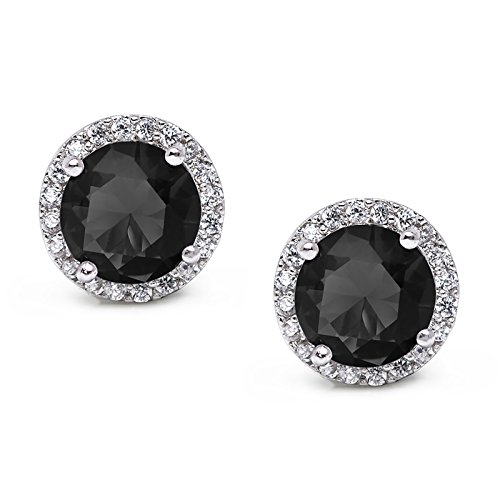 SWEETV Round Birthstone Stud Earrings with Cubic Zirconia Halo - Silver Plated Jewelry Gifts for Women & Girls, Black