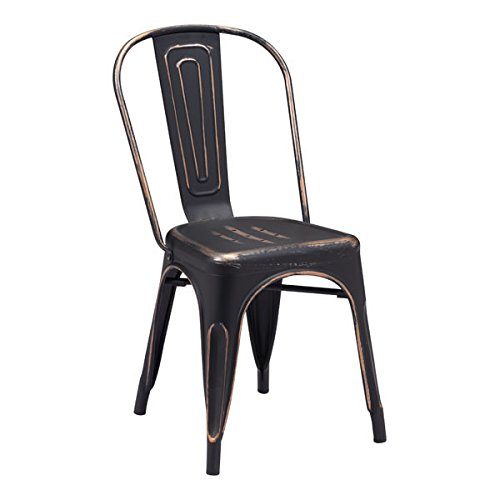 Zuo Elio Dining Chair (Set of 2), Antique Black Gold