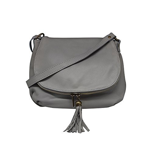 Dark zipper leather Crossbody Grey Italy bag in Saddle shoulder Made soft bag Small compartment OLGA calfskin two leather BRd8gnWqa8