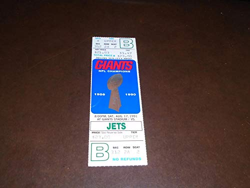 1991 NEW YORK JETS AT NEW YORK GIANTS NFL FOOTBALL FULL TICKET (New York Giants New York Jets Tickets)