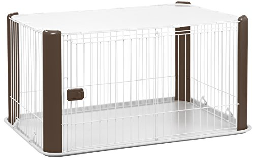(IRIS Large Wire Dog Crate with Mesh Roof, Brown)