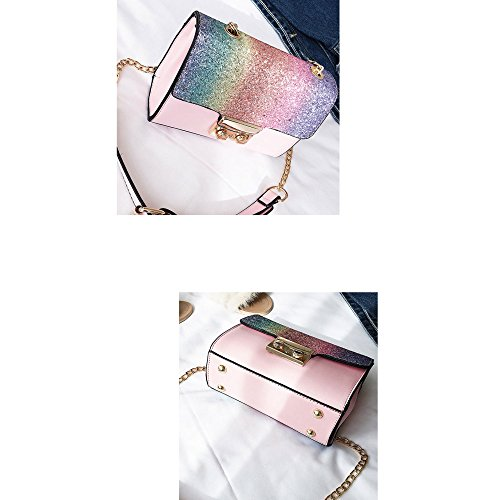 Pink Moda Chain Wild Lentejuela Bag Paquete Crossbody Personality Daypack Shoulder Simple Ms Bags Pequeño Cuadrado xBnq46B