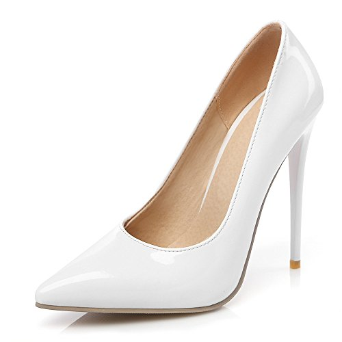SexyPrey Women's Pointed Toe Thin High Heels Solid Formal Court Shoes White BudwTOFpdr
