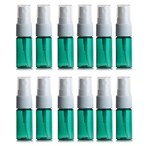 10ml 0.33 oz Fine Mist Spray Bottles with Sprayer Plastic Travel Atomizer for Perfume Moisturizer Cleaning Water Empty Refillable,Green Pack of 12 (Spray 0.5 Ounce Refill)