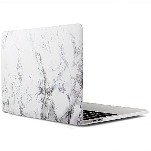 iDOO MacBook Pro 13 Case 2017 & 2016 Release A1706/A1708, Matte Soft Touch Plastic Hard Case for New MacBook Pro 13 Inch with/without Touch Bar - White Marble